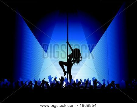 Pole Dancer With Crowd