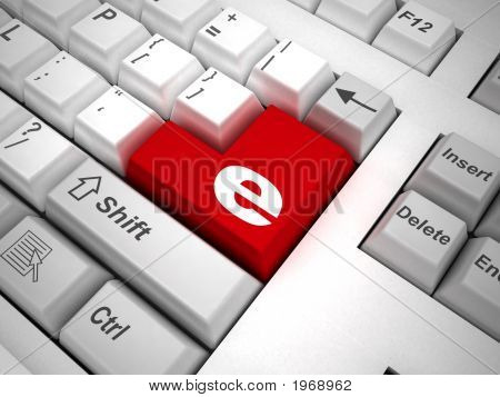 Keyboard With Symbol Of Internet On Enter Key. 3D