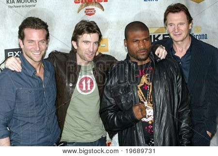 CULVER CITY, CA - JUNE 5: Bradley Cooper, Sharlto Copley, Quinton Jackson, and Liam Neeson arrive at the 4th annual Spike TV's