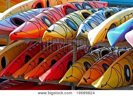 A Rack Of Kayaks