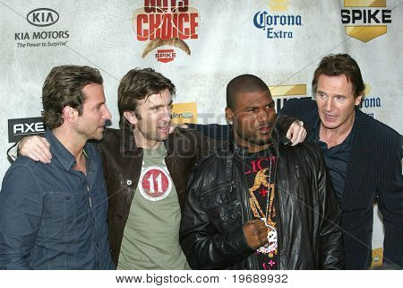 """CULVER CITY, CA - JUNE 5: Bradley Cooper, Sharlto Copley, Quinton Jackson, and Liam Neeson arrive at the 4th annual Spike TV's """"Guy's Choice"""" held June, 5, 2010 at Sony Studios in Culver City, CA."""
