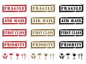 foto of first class  - Three different colored Grungy Shipping Labels and Icons - JPG
