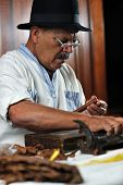 picture of tobaco leaf  - older senior man making luxury handmade cuban cigare - JPG