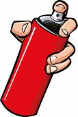 pic of spray can  - Cartoon hand holding a spray can - JPG