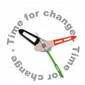 Постер, плакат: Время для изменения улучшить для лучше развиваться и инновациям Будильник указывающий улучшение