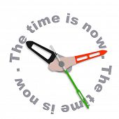 the time is now live in the present not in the future or the past act now living day to day clock co