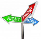 image of ethics  - Three colorful arrow signs reading Right - JPG