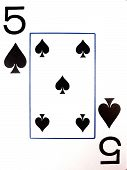 pic of playing card  - a five of spades playing card on a white background - JPG