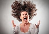image of crazy face  - Very angry woman - JPG
