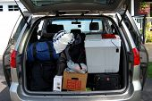 stock photo of road trip  - trunk of a van ready to go on a road trip  - JPG