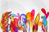 image of brazil carnival  - Bright vector background with feathers and abstract shapes - JPG