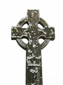 pic of irish moss  - Moss covered antique Celtic cross at an Irish cemetery - JPG