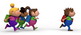 pic of school child  - school kids running from left to right  - JPG