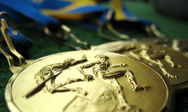 pic of gold medal  - Athletics medals for a winner or champion - JPG