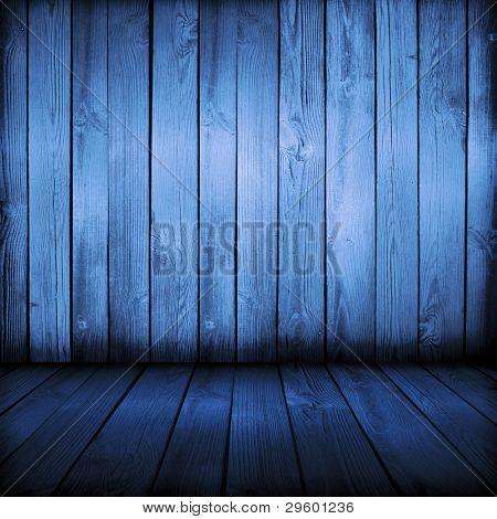 viejo azul interior de madera, está vacía para su diseño