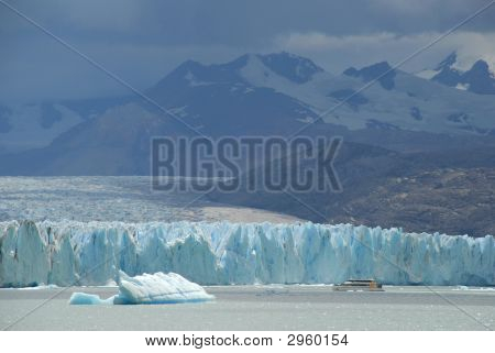 Argentine Excursion Ship Near The Upsala Glacier In Patagonia, Argentina.