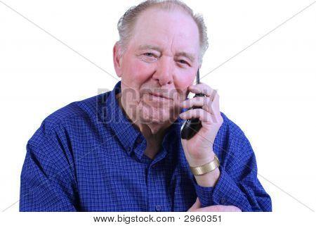 Elderly Man Using Cell Phone