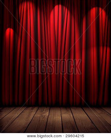 cortina vermelha de teatro com iluminação suave