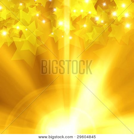 holiday stars on a background of gold bars