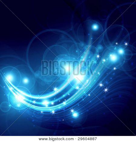 flocos de neve e estrelas sobre um fundo abstrato