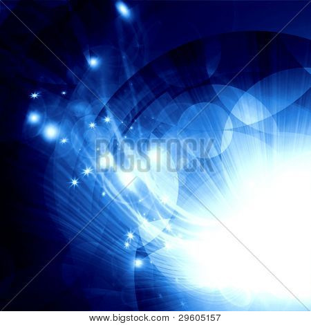 abstract background of blue circles with bright rays of light
