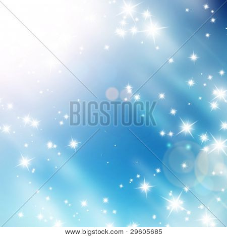 bright glitters on a soft blue background