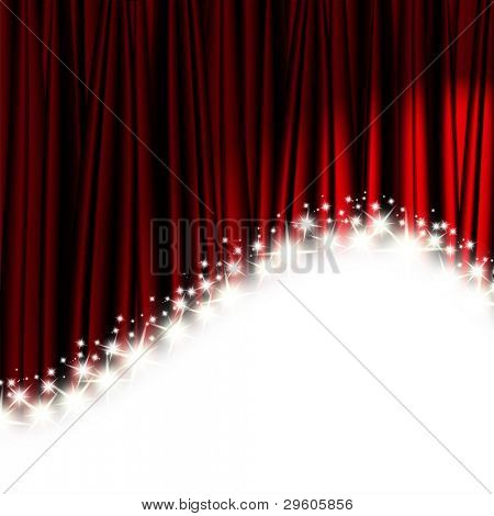 red theater curtain with stars