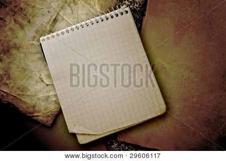 old used notebook on  vintage background