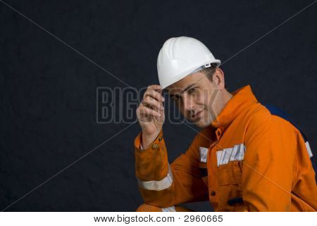 Miner Saluting With Copy Space