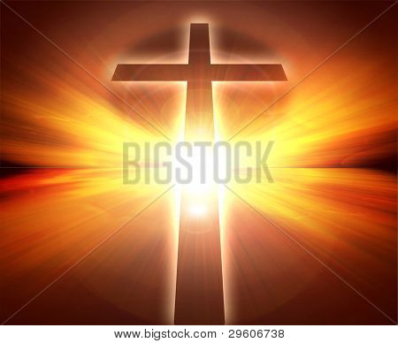 Glowing sunset with cross, with radial rays of light