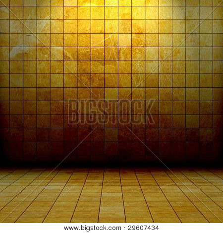 grunge golden mosaic room, gold background