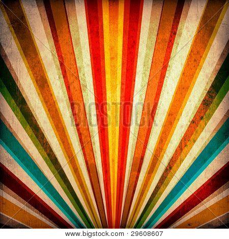 Multicolor zonnestralen grunge achtergrond. Een vintage poster.