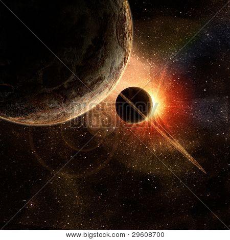 planeta con anillos al amanecer en el fondo del cosmos