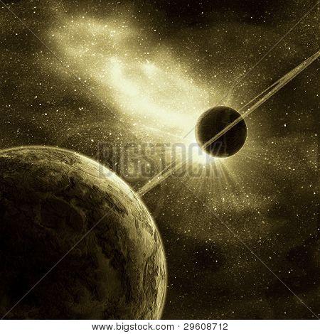 planeta com anéis ao nascer do sol no fundo do cosmos