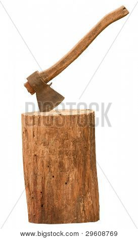 Axe and log isolated on white background