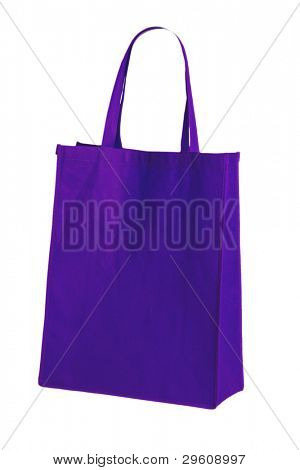 blue cotton bag on white isolated background