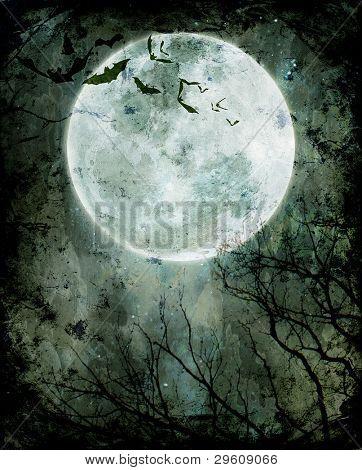 Fundo de dia das bruxas. Morcegos voando na noite com uma lua cheia ao fundo.