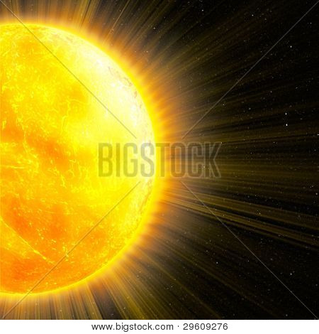 sun with rays in space, an abstract background