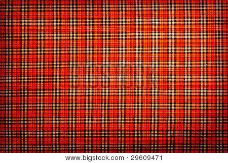 plaid fabric red, orange, black, white, background