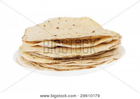 pile of flatbread isolated on a plate on white background