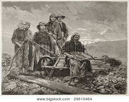 Coal sorters women old engraved portrait (Le Creusot, France). Created by Neuville after photo of unknown author, published on Le Tour du Monde, Paris, 1867