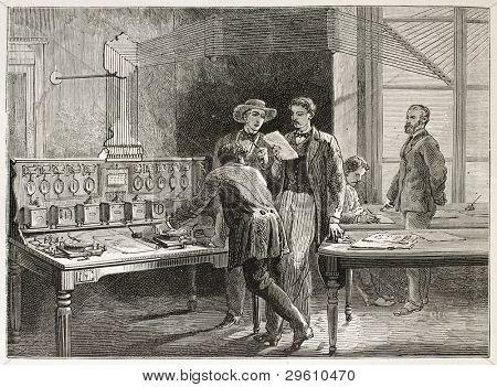 Telegraph Büro alte Abbildung (le Crouset Workshop, Frankreich). erstellt von Neuville nach Bonhomme,