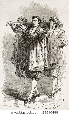 Pope's sedan chair carriers old illustration. Created by Neuville, published on Le Tour du Monde, Paris, 1867