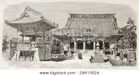 Buddhist temple in Kawasaki, Japan. Created by Therond after photo by unknown author, published on Le Tour du Monde, Paris, 1867