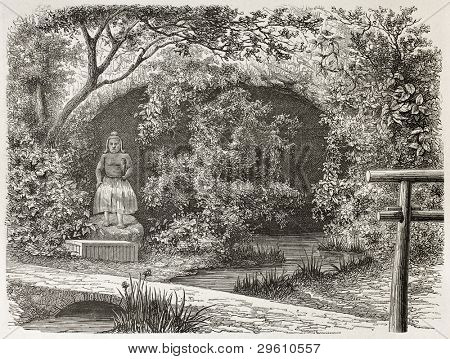 Tjoodji idol and grotto old view, Japan. Created by De Bar after Humbert, published on Le Tour du Monde, Paris, 1867