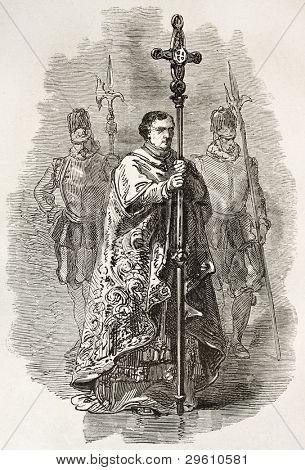Vatican crucifix bearer. Created by Neuville, published on Le Tour du Monde, Paris, 1867