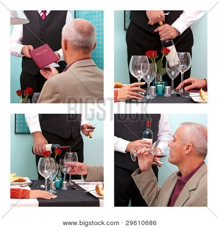 Photo montage showing a mature man ordering and tasting wine from a sommelier in a restaurant.