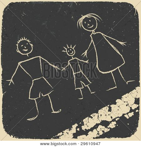 Happy family doodle. Picture on asphalt. Vector illustration, EPS10.