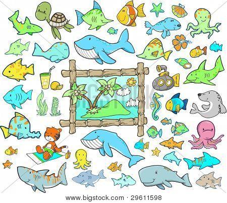 Cute Summer Beach Ocean Animal Vector Illustration Cartoon Design Elements Set