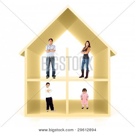 Family in a 3D home illustration - isolated over a white background